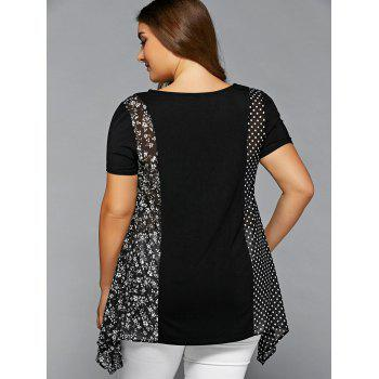 Plus Size Polka Dot and Floral Blouse - BLACK BLACK
