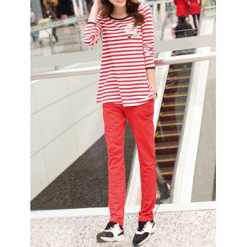 Striped T-Shirt + Pocket Design Plain Pants Twinset