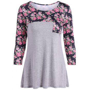 Casual Patch Pocket Floral T-Shirt - GRAY GRAY