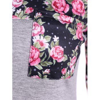 Casual Patch Pocket Floral T-Shirt - GRAY S