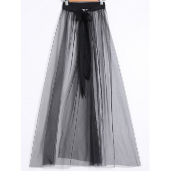 See-Through High Waisted Front Slit Long Tulle Skirt