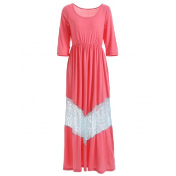 Scoop Neck Lace Trimmed Maxi Dress