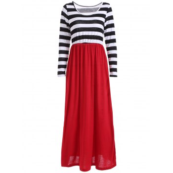 Scoop Neck Long Sleeve Maxi Casual Dress