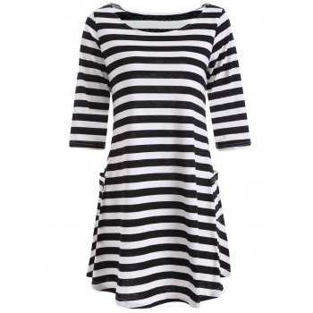 Casual A Line Pocktes Striped Dress
