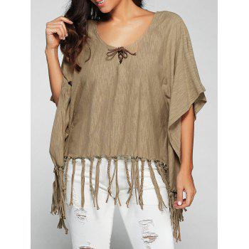 Scoop Neck Tassels Batwing Sleeve T-Shirt