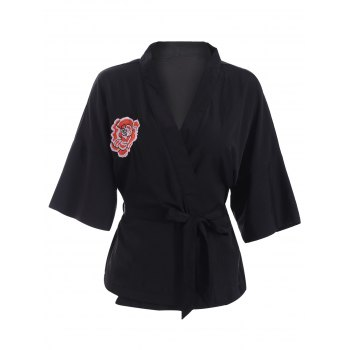 Casual V-Neck Embroidered Belted Kimono Blouse