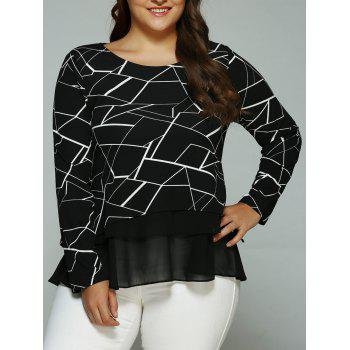 Plus Size Geometric Print Splicing Blouse