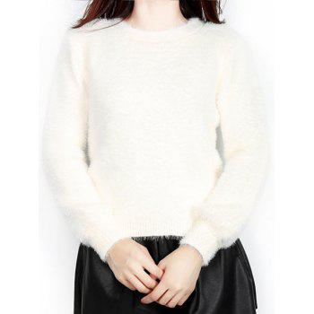 Fur Embellished Textured Sweater - OFF WHITE ONE SIZE