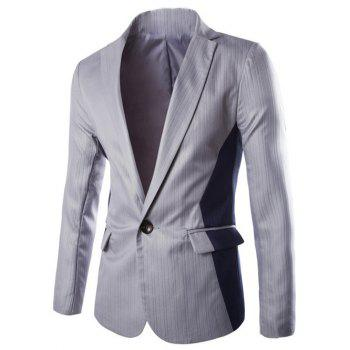 One Button Vertical Stripe Lapel Color Block Spliced Design Blazer