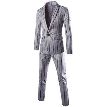 Lapel Vertical Stripe One Button Blazer + Pants Twinset Suits