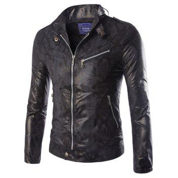 Snake Pattern Stand Collar Zip-Up PU-Leather Jacket