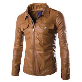 Pockets Design Turn-Down Collar Zip-Up PU-Leather Jacket