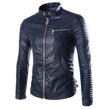 Zip-Up Stand Collar Moto PU-Leather Jacket