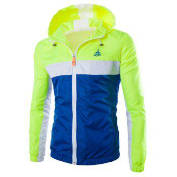 Hooded Zip-Up Color Block Splicing Polyester Jacket