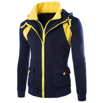 Hooded Faux Twinset Pockets Design Double Zip-Up Jacket