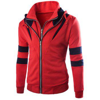 Hooded Faux Twinset Varsity Stripe Double Zip-Up Jacket