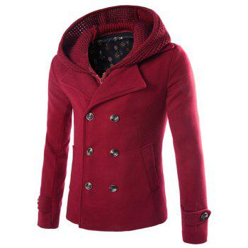 Detachable Knitting Hooded Zip-Up Double-Breasted Woolen Coat