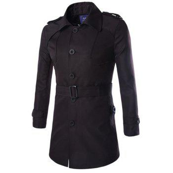 Turn-Down Collar Lengthen Epaulet Design Single-Breasted Coat