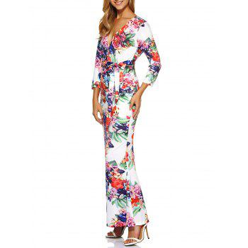 Print Belted Floral Bodycon Maxi Formal Dress With Sleeves