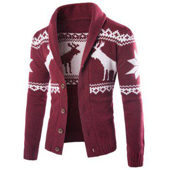 Ethnic Style Elk Print Turn-Down Collar Single-Breasted Cardigan