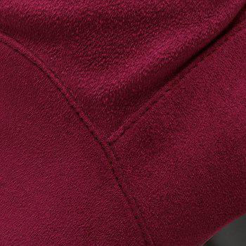 Splicing Platform Embroidery Thigh Boots - WINE RED 39