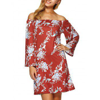 Flower Print Off The Shoulder Dress