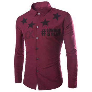 Stars and Letter Printed Long Sleeve Shirt - WINE RED WINE RED