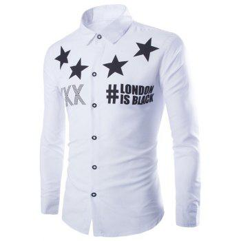 Stars and Letter Printed Long Sleeve Shirt