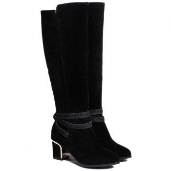 Zipper Suede Cross Straps Knee High Boots