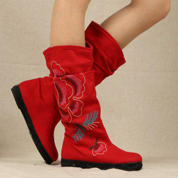 Ethnic Style Embroidered Canvas Mid-Calf Boots