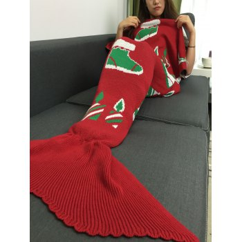 Knitted Christmas Gift and Snow Man Mermaid Tail Blanket
