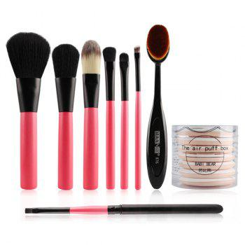 8 Pcs Facial Makeup Brushes Set and Air Cushion Puffs