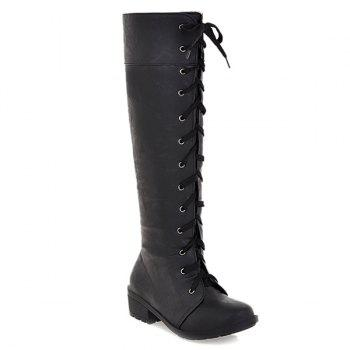 Low Heel PU Leather Lace Up Boots