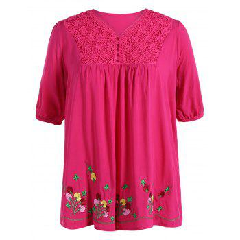 Ethnic Plus Size Flower Embroidered V Neck Blouse