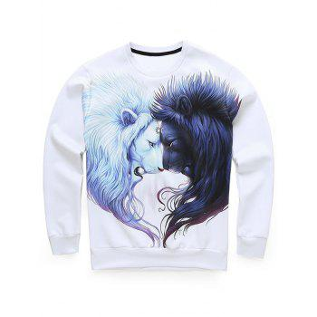 3D Lion Print Long Sleeve Crew Neck Sweatshirt