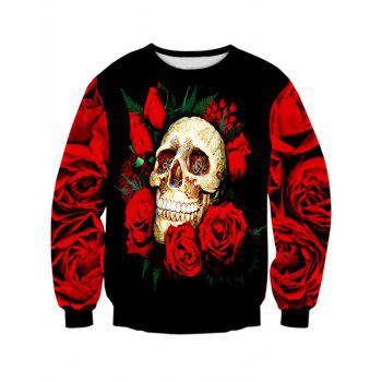 Long Sleeve Crew Neck Rose Skull 3D Print Sweatshirt