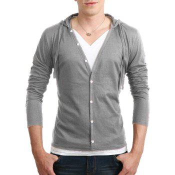 Drawstring Hooded Long Sleeve Button Up T-Shirt