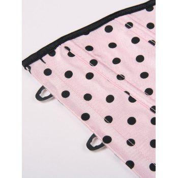 HalterLace-Up Polka Dot Corset - Rose Clair M