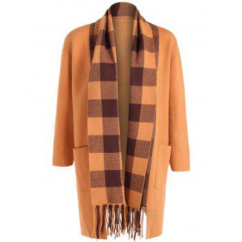 Plaid Fringed Woolen Coat