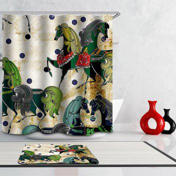 Mouldproof Waterproof Horses Printed Shower Curtain - COLORMIX COLORMIX