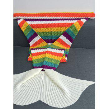 Rainbow Color Crochet Knitting Warmth Tail Mermaid Conception Blanket - multicolorcolore W31.50INCH*L70.70INCH