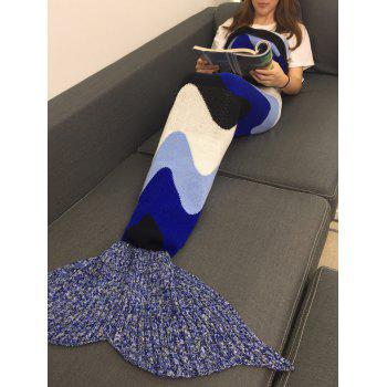 Warmth Crochet Knitting Color Block Mermaid Blanket - multicolorcolore W31.50INCH*L70.70INCH