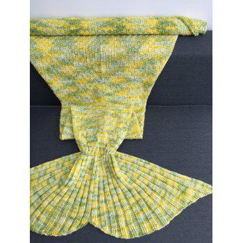 Confortable acrylique tricotée multicolore Mermaid Tail Blanket - Jaune W31.50INCH*L70.70INCH