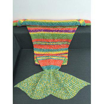 Super Soft Colorful Striped Acrylic Knitting Mermaid Blanket - COLORMIX W31.50INCH*L70.70INCH