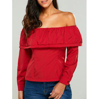 Long Sleeves Button Back Off The Shoulder Blouse