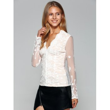 See-Through Back Long Sleeve Lace Top - WHITE S