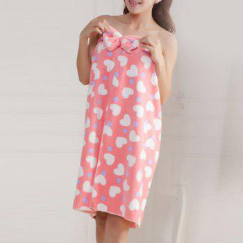 2PCS Flannel Heart Pattern Tube Top Bath Skirt Set