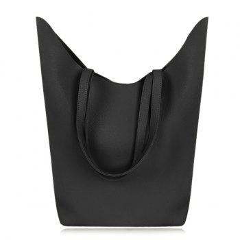 Casual Textured PU Leather Shoulder Bag