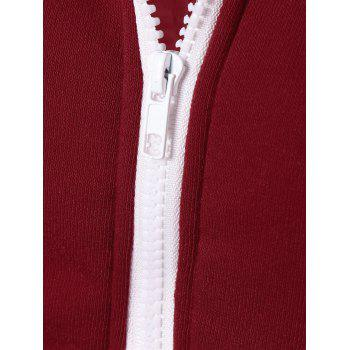 Solid Color Zip Up Fleece Warm Hoodie - WINE RED WINE RED