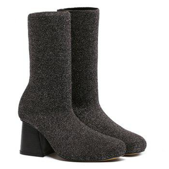 Sequined Square Toe Chunky Heel Sock Boots - 38 38